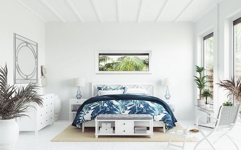 chambre bleu et blanche